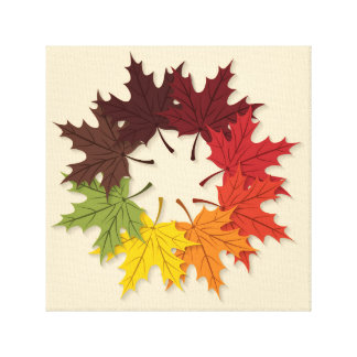 Maple leaf circle canvas print