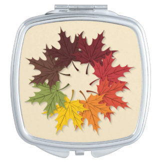 Maple leaf circle makeup mirror