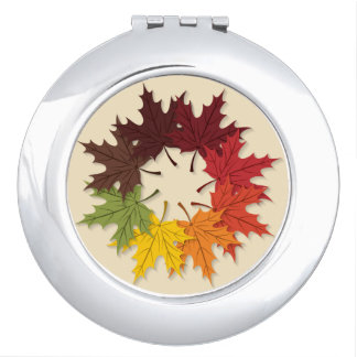 Maple leaf circle makeup mirrors