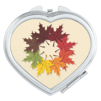 Maple leaf circle travel mirrors