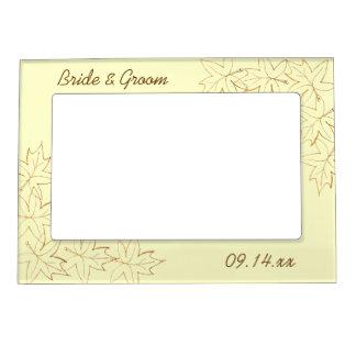 Maple Leaf Edge Fall Wedding Picture Frame Frame Magnet