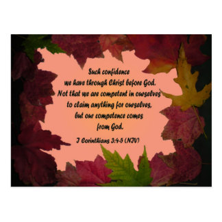 Maple Leaf Frame 1 Cor 3 4-5 Bible Verse Postcard