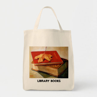 MAPLE LEAF, OLD BOOKS, LIBRARY TOTE GROCERY TOTE BAG