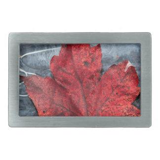 Maple leaf on ice belt buckle