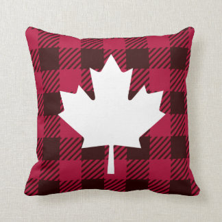 Maple leaf on plaid cushion