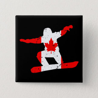 Maple Leaf SNOWBOARDER (blk) 15 Cm Square Badge