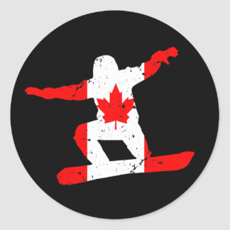 Maple Leaf SNOWBOARDER (blk) Classic Round Sticker