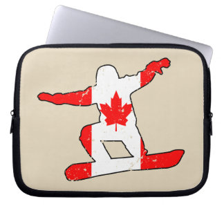 Maple Leaf SNOWBOARDER (blk) Laptop Sleeve