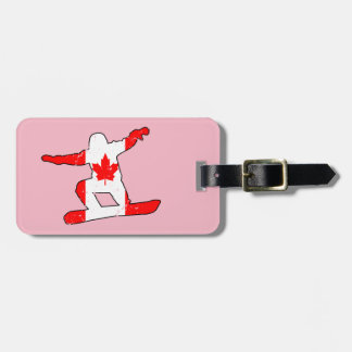 Maple Leaf SNOWBOARDER (blk) Luggage Tag
