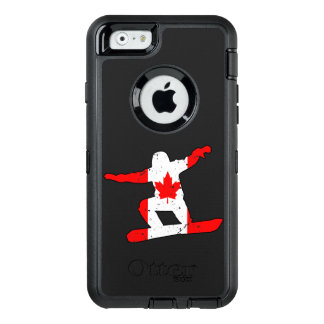 Maple Leaf SNOWBOARDER (blk) OtterBox Defender iPhone Case