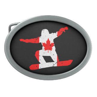 Maple Leaf SNOWBOARDER (blk) Oval Belt Buckle