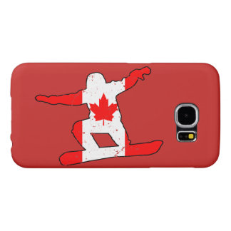 Maple Leaf SNOWBOARDER (blk) Samsung Galaxy S6 Cases