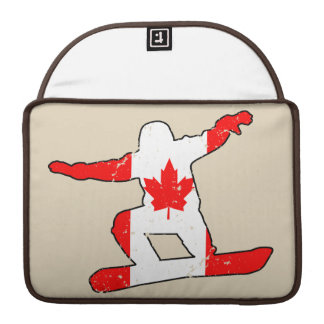 Maple Leaf SNOWBOARDER (blk) Sleeve For MacBooks