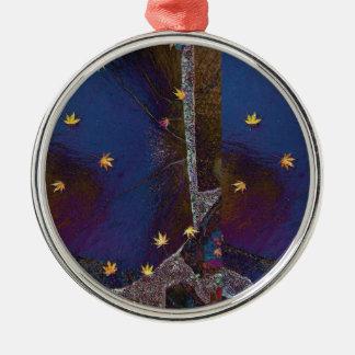Maple Leaf Star Design Metal Ornament