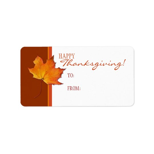 Maple Leaf Thanksgiving Gift Tag Label
