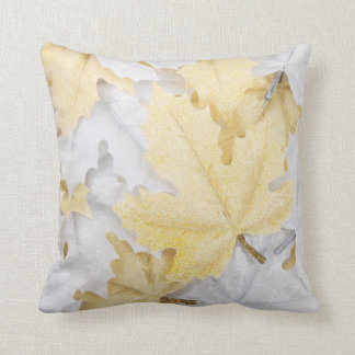 Maple leaf throw pillow  White silver Maple leaf