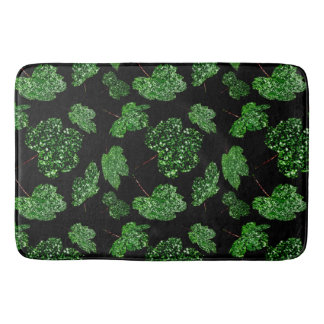 Maple Leaf Tropical Cali Green Botanical Black Bath Mat