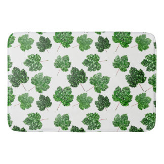 Maple Leaf Tropical Cali Green Botanical White Bath Mat