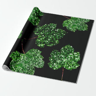 Maple  Leaf  Tropical Green Black Botanical Nature Wrapping Paper