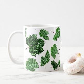 Maple Leaf Tropical Green Black Botanical Wellness Coffee Mug
