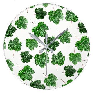 Maple Leaf Tropical Green Black Botanical Wellness Large Clock