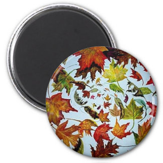 Maple Leaf Vortex painting 6 Cm Round Magnet