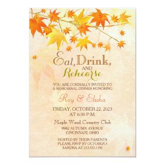 Maple Leaf Wedding Rehearsal Dinner Card