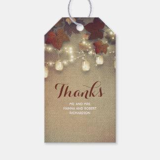 Maple Leaves and Mason Jars Fall Wedding Gift Tags