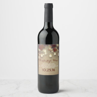 Maple Leaves and String Lights Rustic Fall Wedding Wine Label