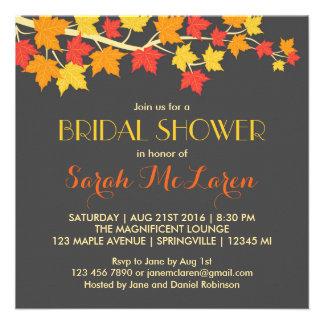 Maple Leaves Autumn Bridal Shower Invitation Personalized Invite