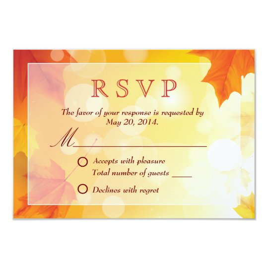 Maple Leaves Autumn Wedding RSVP Card