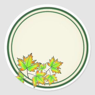 Maple Leaves Classic Round Sticker