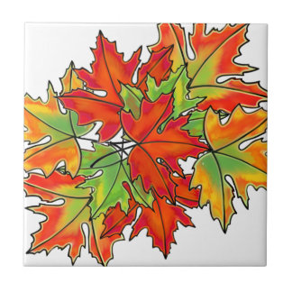 Maple Leaves- colorful leaves Ceramic Tile