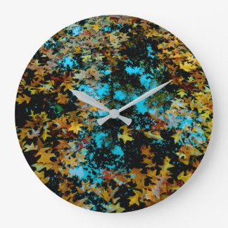 Maple Leaves Floating on Water Large Clock