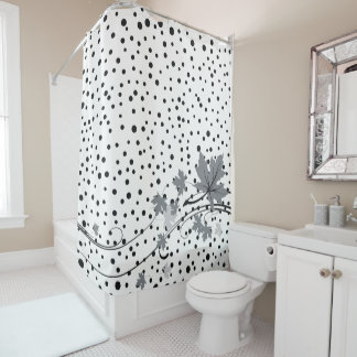 Maple leaves gray and black polka dots shower curtain