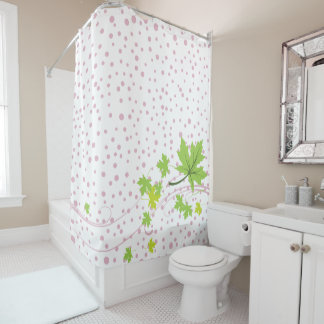 Maple leaves green and pink polka dots shower curtain