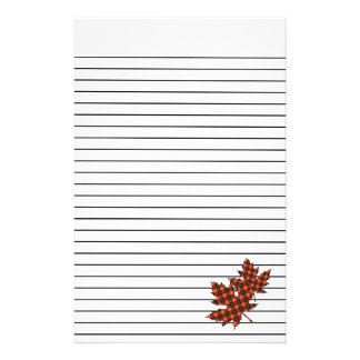 Maple Leaves in Red Plaid Lined Stationary Stationery