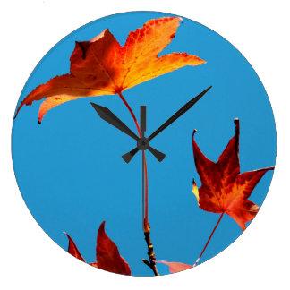 Maple Leaves Large Clock