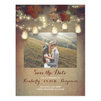Maple Leaves Mason Jars Fall Photo Save the Date Postcard