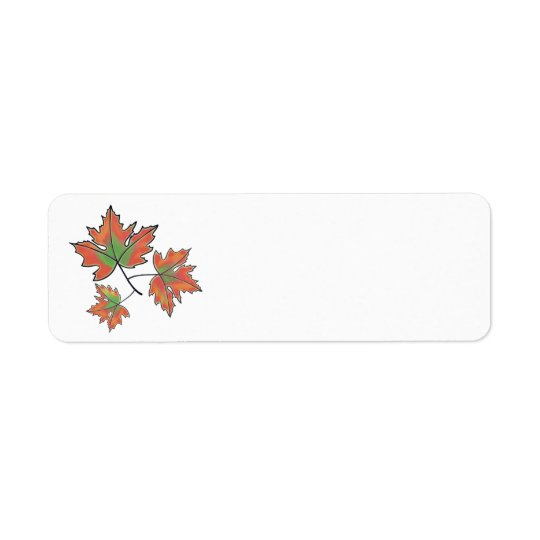 Maple leaves - orange return address label