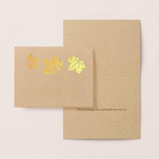 Maple leaves simple elegant fall wedding thank you foil card