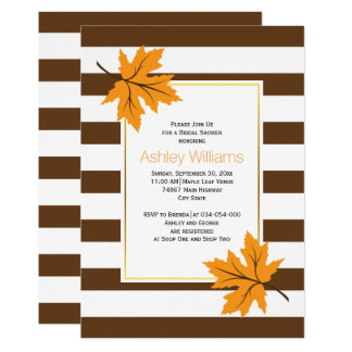 Maple leaves, stripes autumn wedding bridal shower 13 cm x 18 cm invitation card