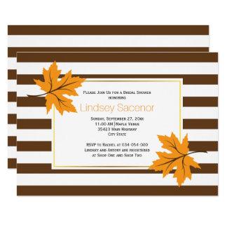 Maple leaves & stripes fall wedding bridal shower 13 cm x 18 cm invitation card