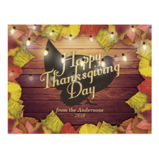 Maple Leaves Turkey Wood String Light Thanksgiving Postcard