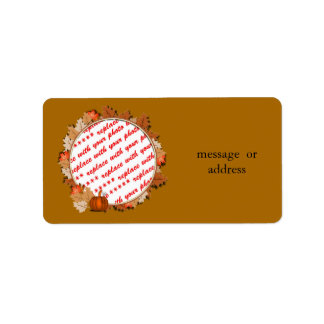 Maple Leaves with Pumpkin Frame on Autumn Brown Label