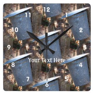 Maple Sugar Sap Bucket Nature Pattern Square Wall Clock
