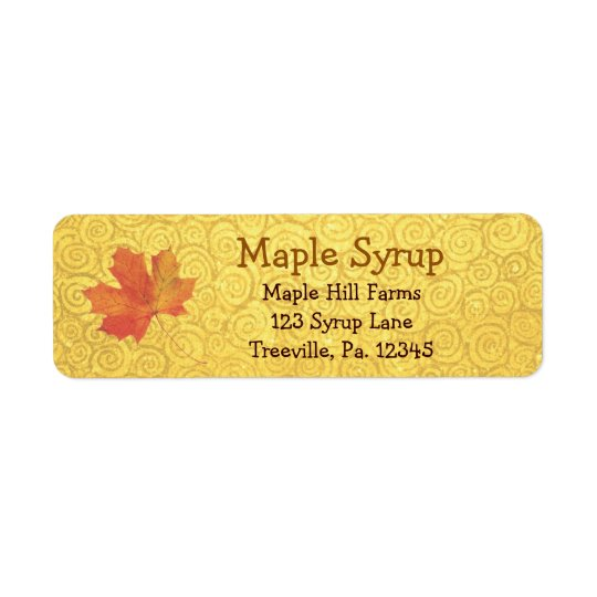 Maple Syrup Label Small Return Address Label