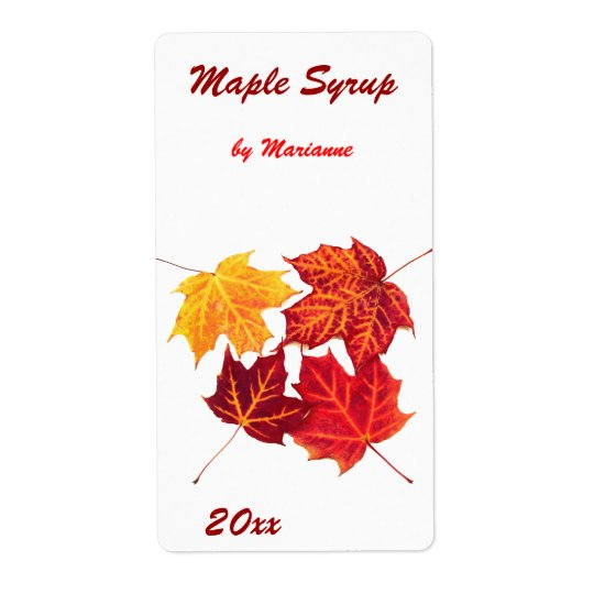 Maple syrup - maple leaves canning label