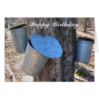 Maple Syrup Sap Buckets On Tree Birthday Card