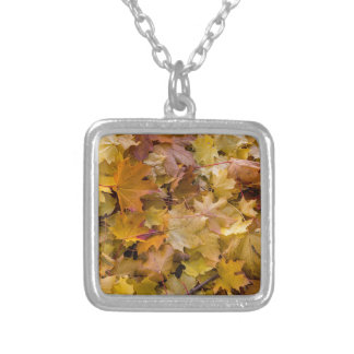 Maple Tree Fall Leaves Background Silver Plated Necklace